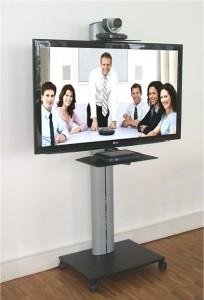 Alu Rollstandfuss für Bildschirm mit Kamerahalterung