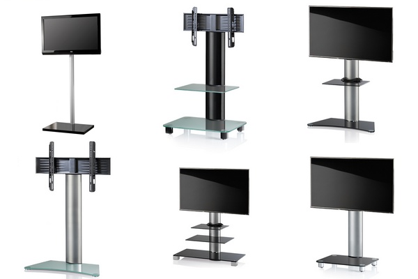 TV Rack Rollstandfuss ALU Glas
