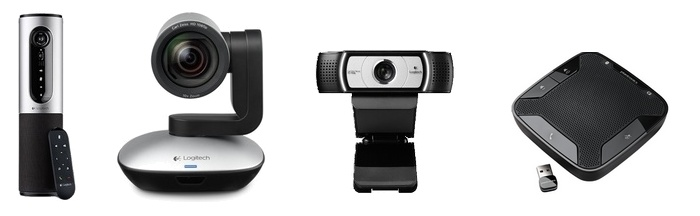 Kameras mit USB Anschluss und USB Tischmikrofon als Freisprecheinrichtung